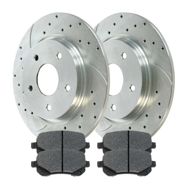 Rear Semi Metallic Brake Pad and Performance Drilled and Slotted Rotor Bundle 12 Inch Rotor Diameter - Part # BRKPKG002917