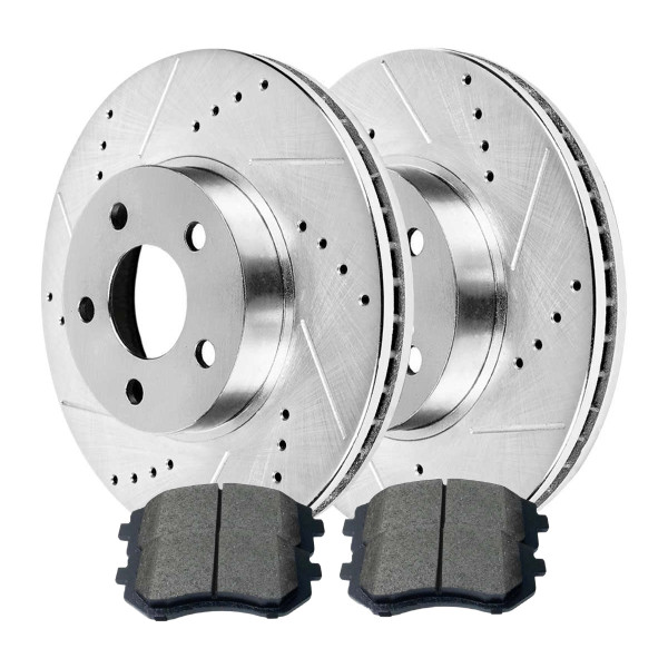 FRONT SET DRILLED AND SLOTTED ROTORS & METALLIC PADS FOR SAAB - Part # BRKPKG002934