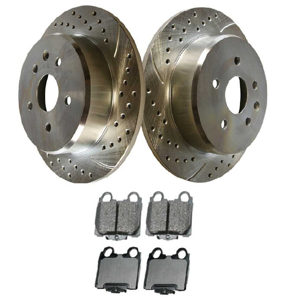 [Rear set] 3 Pieces - 1 Semimet Disc Pad 2 Silver Drilled And Slotted Performance Brake Rotors - Part # BRKPKG002979