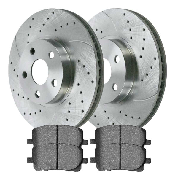 Front Semi Metallic Brake Pad and Performance Drilled and Slotted Rotor Bundle - Part # BRKPKG002994