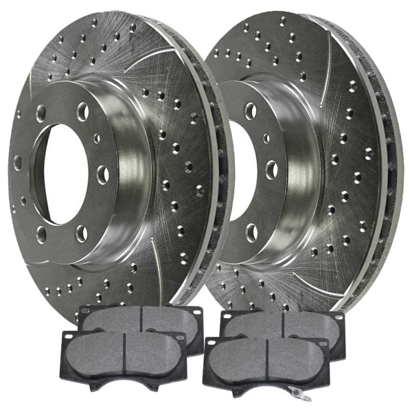 Front Semi Metallic Brake Pad and Performance Drilled and Slotted Rotor Bundle 6 Stud 12.5 Inch Front Rotor Diameter - Part # BRKPKG003033