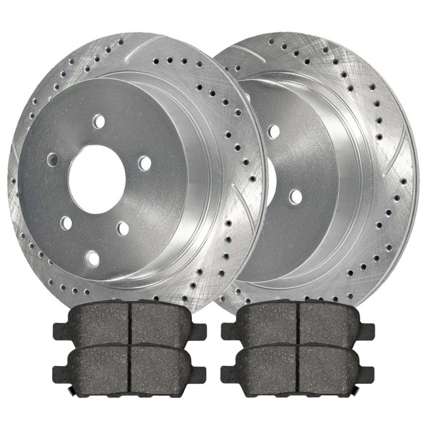 [Rear set] 3 Pieces - 1 Semimet Disc Pad 2 Silver Drilled And Slotted Performance Brake Rotors - Part # BRKPKG003047
