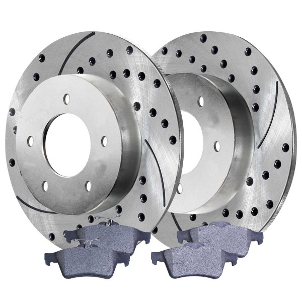 Rear Semi Metallic Brake Pad and Performance Drilled and Slotted Rotor Bundle - Part # BRKPKG003058