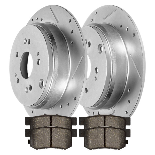 Rear Performance Drilled Slotted Brake Rotors Silver and Semi Metallic Pads Kit, Driver and Passenger Side - Part # BRKPKG003063