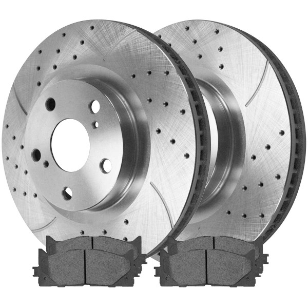 Front Semi Metallic Brake Pad and Performance Drilled and Slotted Rotor Bundle - Part # BRKPKG003100