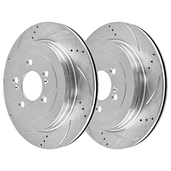 Front Semi Metallic Brake Pad and Performance Drilled and Slotted Rotor Bundle - Part # BRKPKG003103