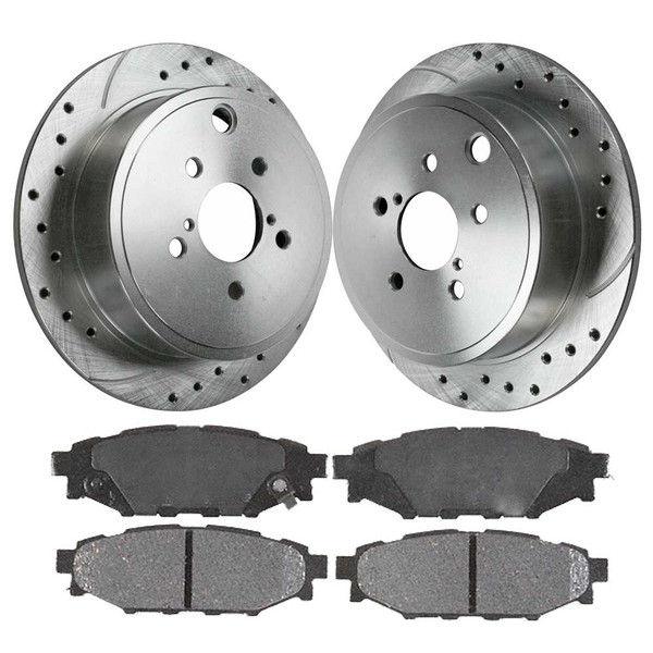 [Rear] - Drilled and Slotted Brake Rotors w/Metallic Pads Set - Part # BRKPKG003138