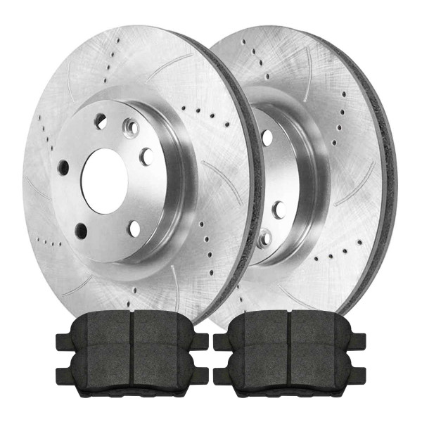 [Rear set] 3 Pieces - 1 Semimet Disc Pad 2 Silver Drilled And Slotted Performance Brake Rotors - Part # BRKPKG003144