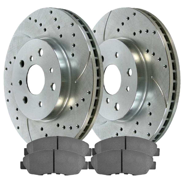 Front Semi Metallic Brake Pad and Performance Drilled and Slotted Rotor Bundle - Part # BRKPKG003154