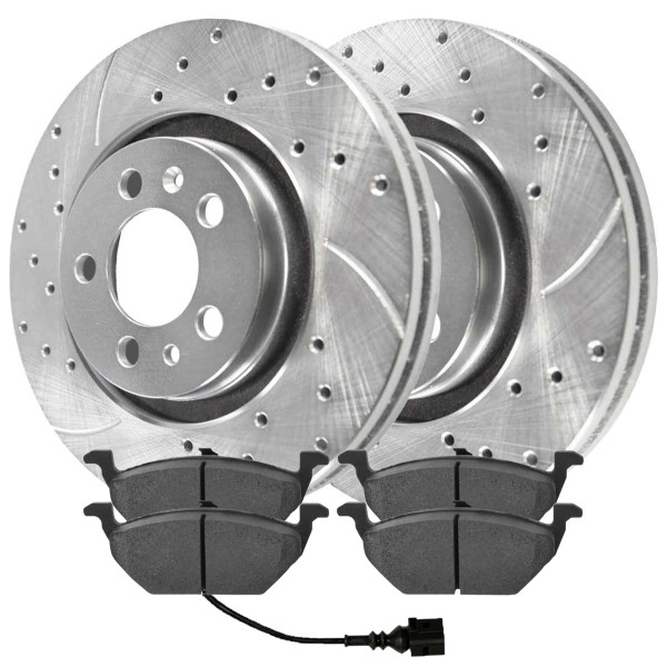 [Front set] 3 Pieces - 1 Semimet Disc Pad 2 Silver Drilled And Slotted Performance Brake Rotors - Part # BRKPKG003182