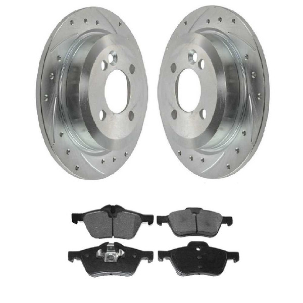 [Front set] 3 Pieces - 1 Semimet Disc Pad 2 Silver Drilled And Slotted Performance Brake Rotors - Part # BRKPKG003212