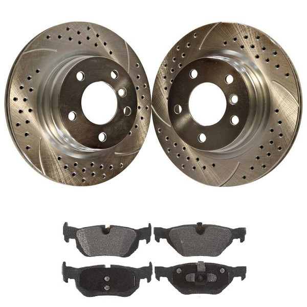 [Rear set] 3 Pieces - 1 Semimet Disc Pad 2 Silver Drilled And Slotted Performance Brake Rotors - Part # BRKPKG003243
