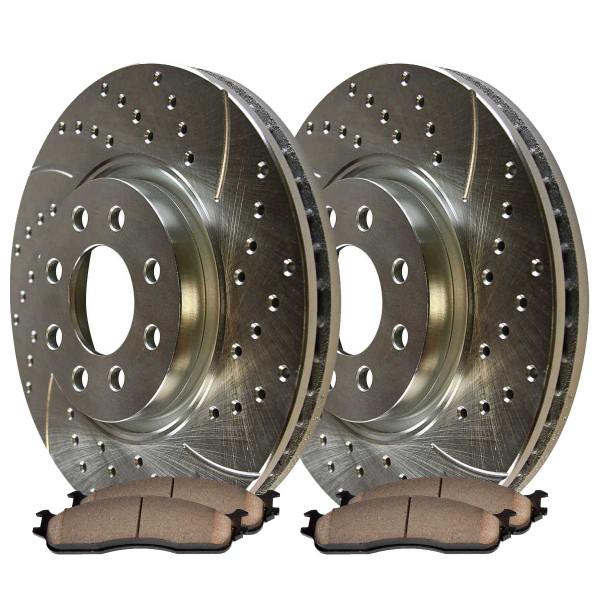 Front Semi Metallic Brake Pad and Performance Rotor Bundle 8 Stud - Part # BRKPKG003274