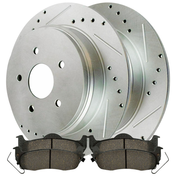 [Rear set] 3 Pieces - 1 Semimet Disc Pad 2 Silver Drilled And Slotted Performance Brake Rotors - Part # BRKPKG003283