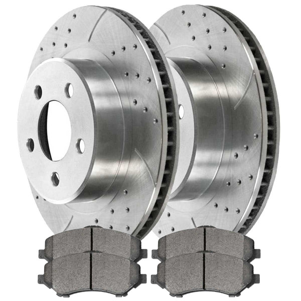 [Front set] 3 Pieces - 1 Semimet Disc Pad 2 Silver Drilled And Slotted Performance Brake Rotors - Part # BRKPKG003289