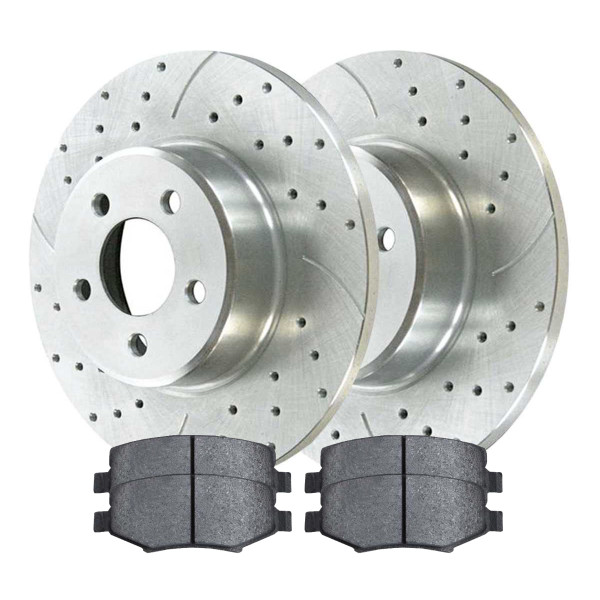 [Rear set] 3 Pieces - 1 Semimet Disc Pad 2 Silver Drilled And Slotted Performance Brake Rotors - Part # BRKPKG003290