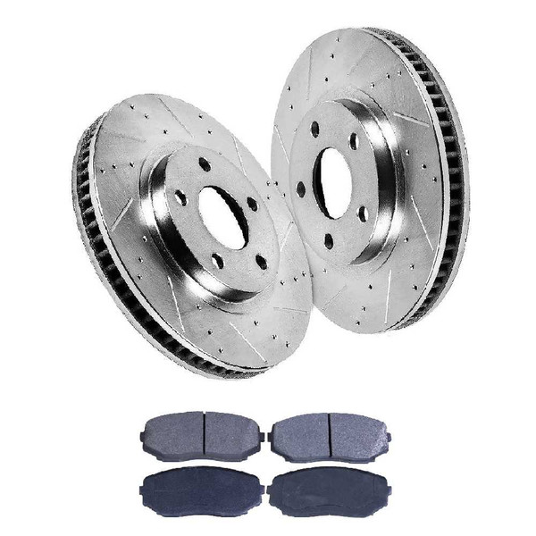 [Front set] 3 Pieces - 1 Semimet Disc Pad 2 Silver Drilled And Slotted Performance Brake Rotors - Part # BRKPKG003355