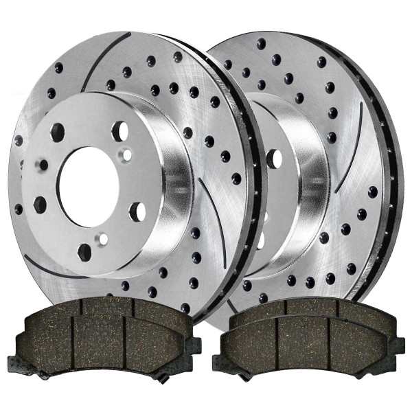 Front Semi Metallic Brake Pad and Performance Drilled and Slotted Rotor Bundle 11.92 Inch Rotor Diameter - Part # BRKPKG003422