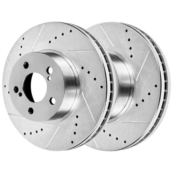 Front Ceramic Brake Pad and Performance Drilled and Slotted Rotor Bundle 10 7/8 Inch Rotor Diameter - Part # BRKPKG003465