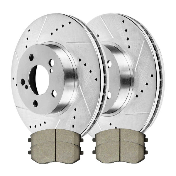Front Ceramic Brake Pad and Performance Drilled and Slotted Rotor Bundle 10 7/8 Inch Rotor Diameter - Part # BRKPKG003466
