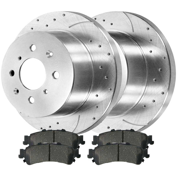 Rear Ceramic Brake Pad and Performance Drilled and Slotted Rotor Bundle 4 Wheel Disc - Part # BRKPKG003486