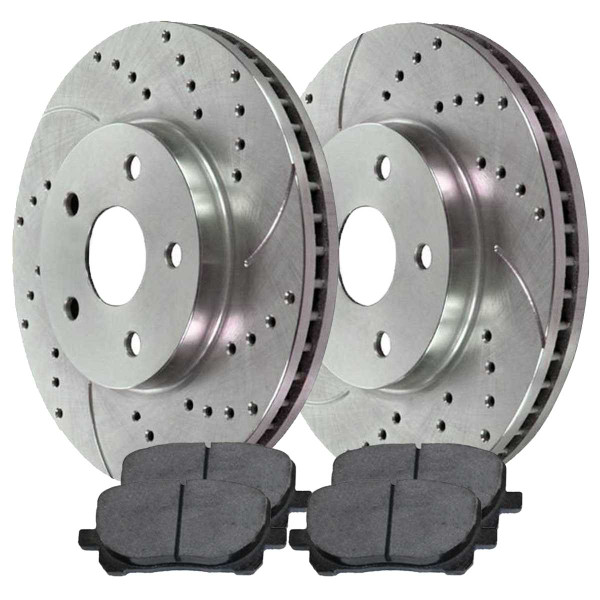 Front Ceramic Brake Pad and Performance Drilled and Slotted Rotor Bundle - Part # BRKPKG003525