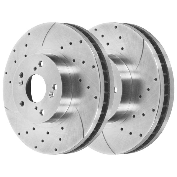 Front Ceramic Brake Pad and Performance Drilled and Slotted Rotor Bundle - Part # BRKPKG003530