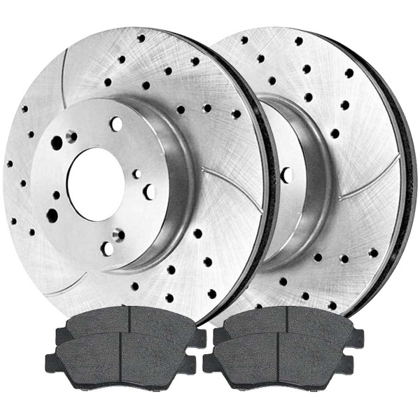 Front Ceramic Brake Pad and Performance Drilled and Slotted Rotor Bundle - Part # BRKPKG003549
