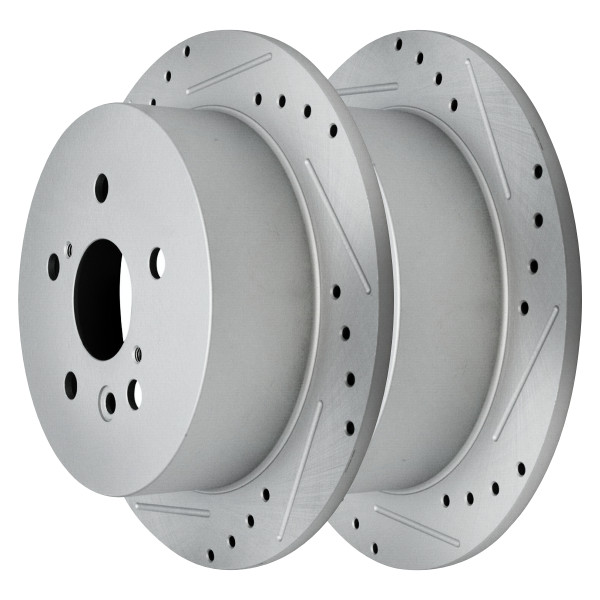 Rear Performance Drilled Slotted Disc Brake Rotors Silver and Ceramic Pads Kit - Part # BRKPKG003582