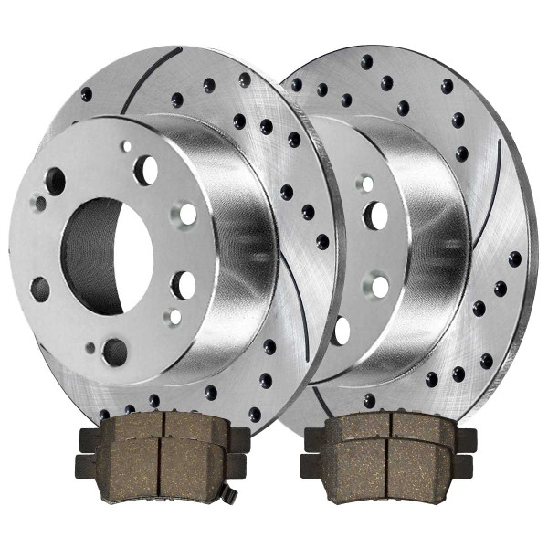 Rear Ceramic Brake Pad and Performance Drilled and Slotted Rotor Bundle - Part # BRKPKG003592