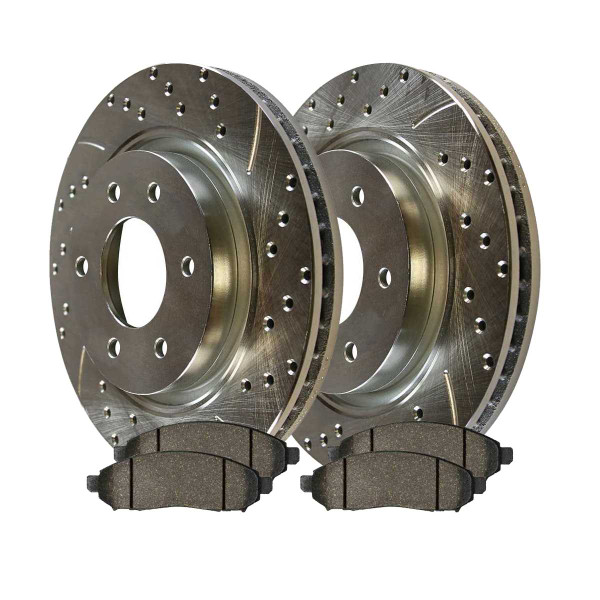 Front Ceramic Brake Pad and Performance Drilled and Slotted Rotor Bundle 11.65 Inch Rotor Diameter - Part # BRKPKG003618
