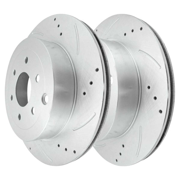 Rear Performance Drilled Slotted Brake Rotors Silver and Ceramic Pads Kit, Driver and Passenger Side - Part # BRKPKG003625
