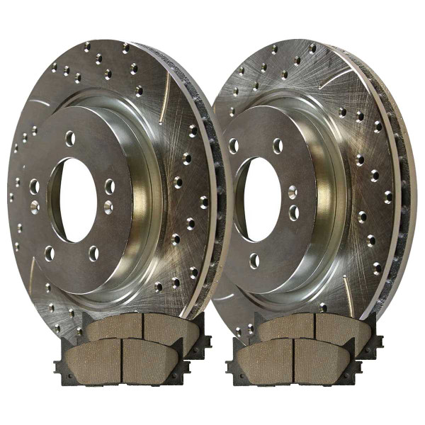 Front Ceramic Brake Pad and Performance Rotor Bundle - Part # BRKPKG003631