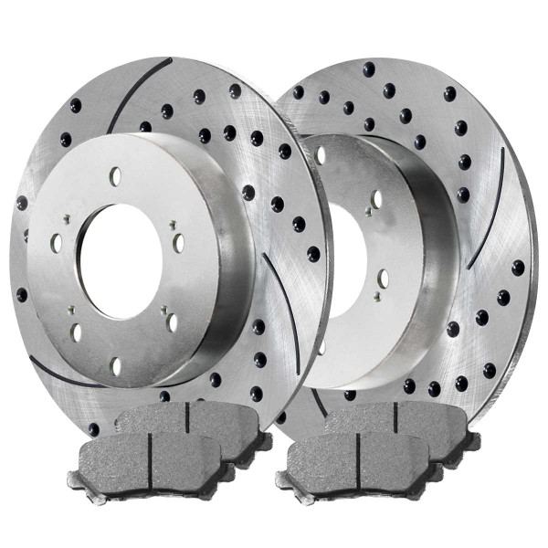 Rear Ceramic Brake Pad and Performance Drilled and Slotted Rotor Bundle - Part # BRKPKG003652