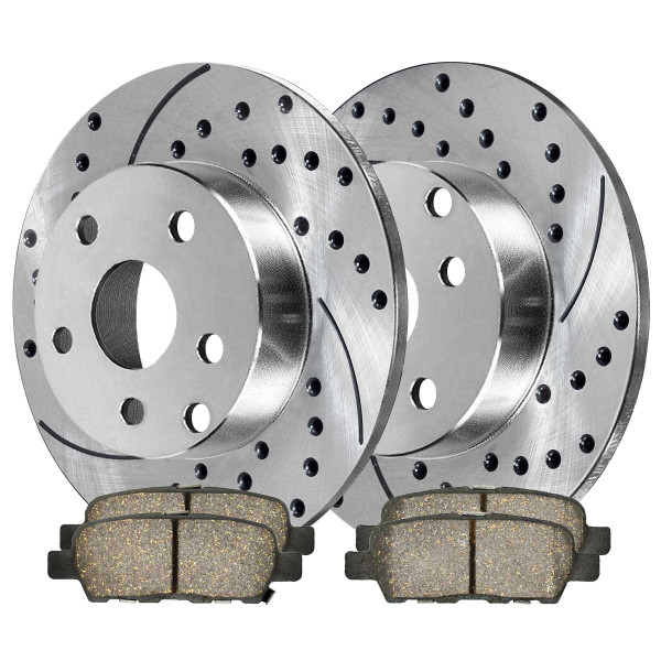 Rear Ceramic Brake Pad and Performance Drilled and Slotted Rotor Bundle - Part # BRKPKG003675