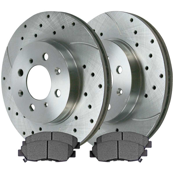 Front Ceramic Brake Pad and Performance Rotor Bundle - Part # BRKPKG003685