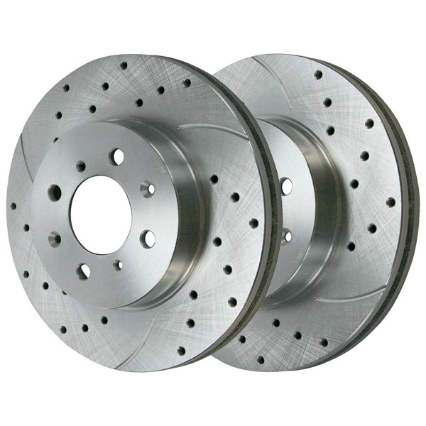 Front Ceramic Brake Pad and Performance Drilled and Slotted Rotor Bundle - Part # BRKPKG003686