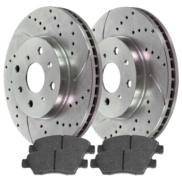 Front Ceramic Brake Pad and Performance Drilled and Slotted Rotor Bundle - Part # BRKPKG003688