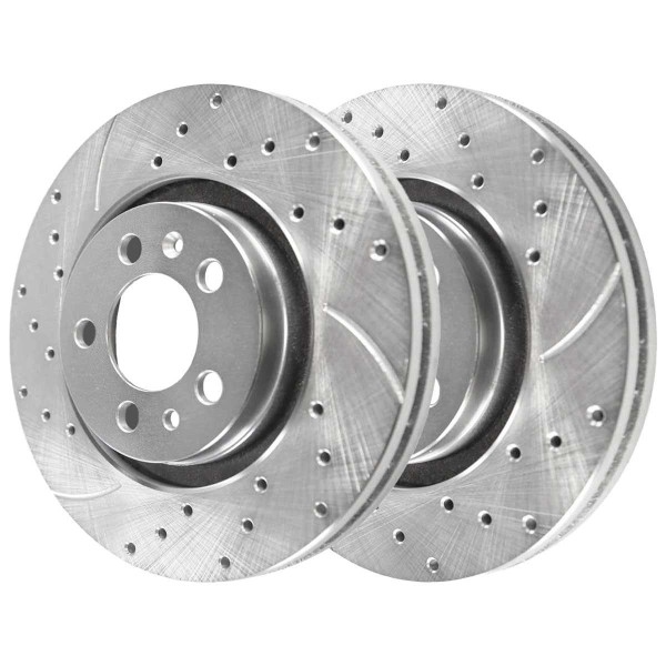 Front Performance Drilled Slotted Brake Rotors Silver and Ceramic Pads Kit, Driver and Passenger Side - Part # BRKPKG003713