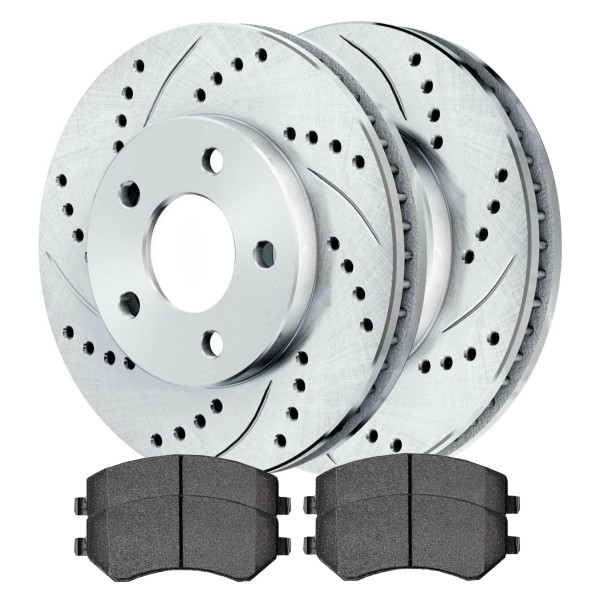 [Front set] 3 Pieces - 1 Ceramic Brake Pad 2 Silver Drilled And Slotted Performance Brake Rotors - Part # BRKPKG003792