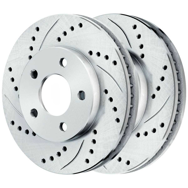 Front Performance Drilled Slotted Brake Rotors Silver and Ceramic Pads Kit, Driver and Passenger Side - Part # BRKPKG003792