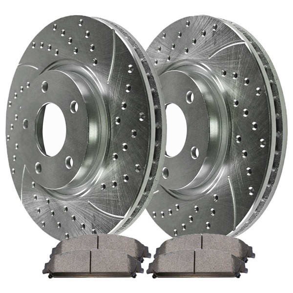 Front Ceramic Brake Pad and Performance Drilled and Slotted Rotor Bundle 13.6 Inch Rotor Diameter - Part # BRKPKG003810