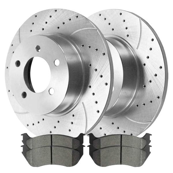 Rear Set of Performance Brake Rotors & Ceramic Brake Pads - Part # BRKPKG003865