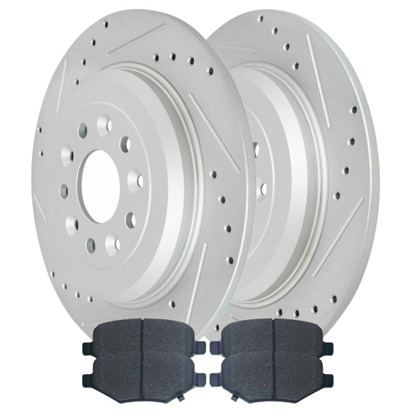 [Rear set] 3 Pieces - 1 Ceramic Brake Pad 2 Silver Drilled And Slotted Performance Brake Rotors - Part # BRKPKG003875