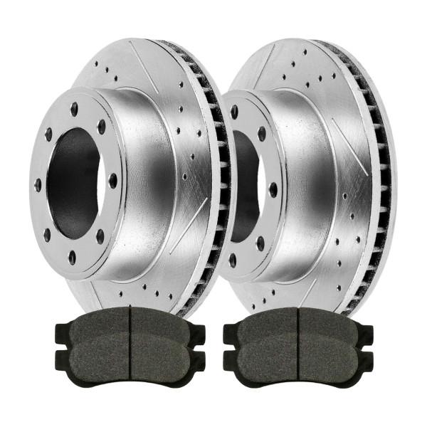 Rear Drilled Slotted Rotors Ceramic Pads - Part # BRKPKG003880