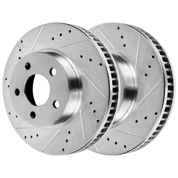 Front Ceramic Brake Pad and Performance Drilled and Slotted Rotor Bundle - Part # BRKPKG003886