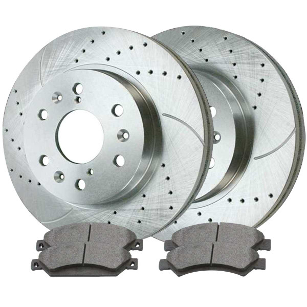 Front Ceramic Brake Pad and Performance Rotor Bundle - Part # BRKPKG003935