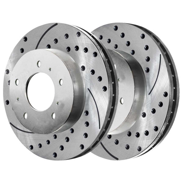 Front Ceramic Brake Pad and Performance Drilled and Slotted Rotor Bundle 11.92 Inch Rotor Diameter - Part # BRKPKG003952