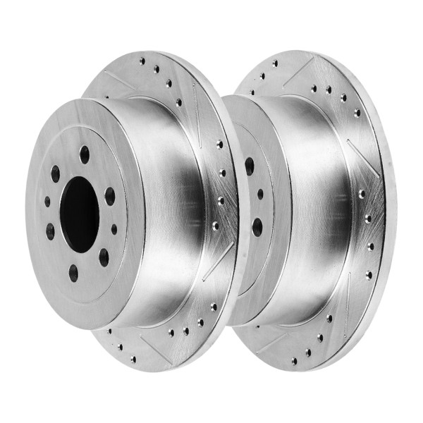 Rear Performance Drilled Slotted Disc Brake Rotors Silver and Ceramic Pads Kit - Part # BRKPKG003973