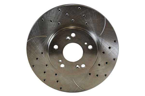 [Front] - Silver Drilled & Slotted Rotors with Metallic Pads Set - Part # BRKPKG003976